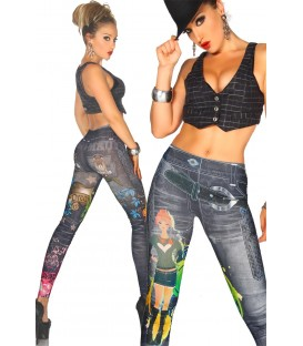 Jeans-Print-Leggings schwarz - AT12047