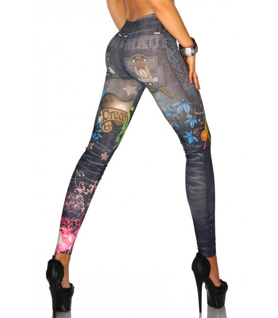 Jeans-Print-Leggings in schwarz