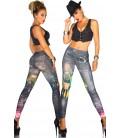 Jeans-Print-Leggings in schwarz