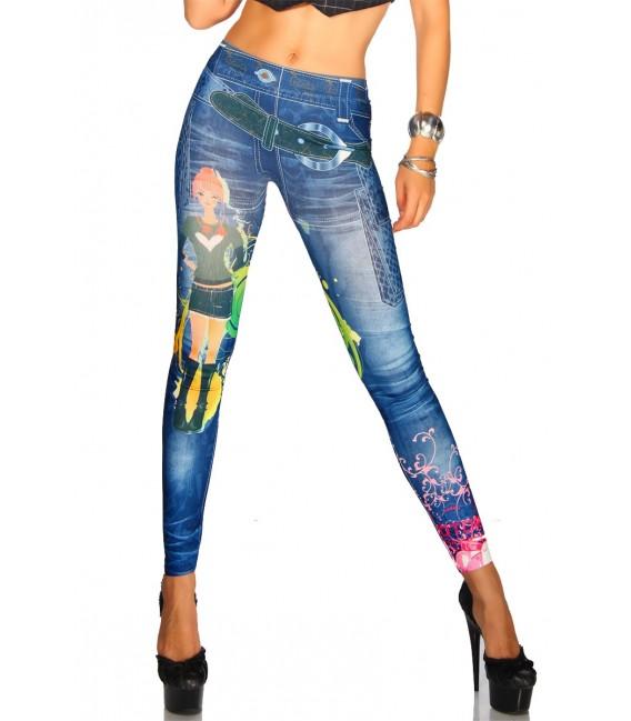 Jeans-Print-Leggings in blau