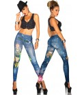 Jeans-Print-Leggings blau - AT12047