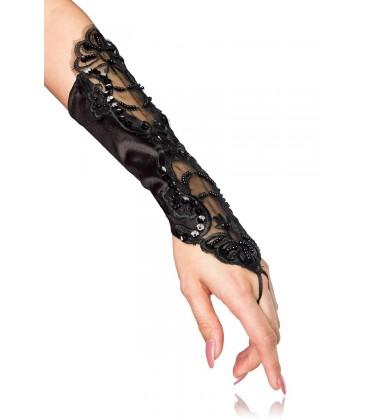 Handstulpen mit Stickerei schwarz - AT12060