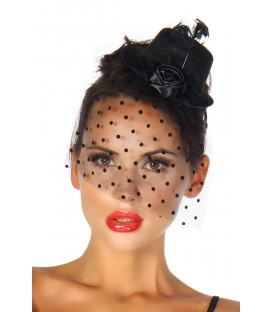 Rockabilly-Minihut / Fascinator schwarz - AT12096
