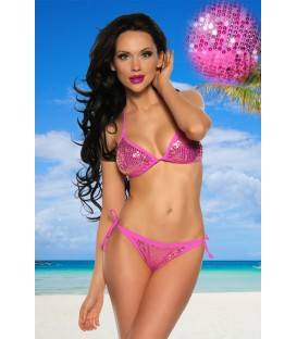funkelnder Pailletten-Bikini pink/silber