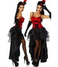 Cabarett-Kostüm rot/schwarz - AT12153