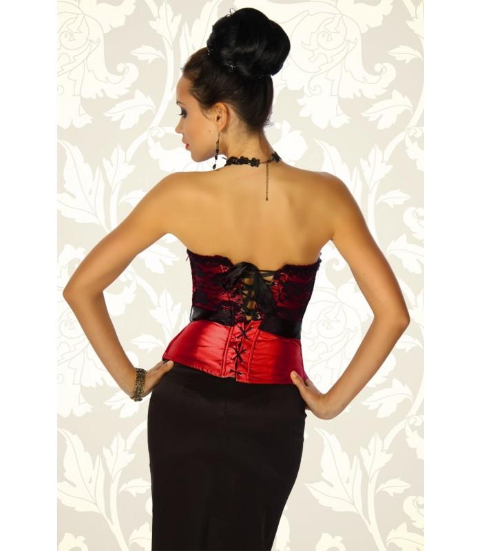 a5361b42841c9a Spitzen-Corsage rot/schwarz - AT12183 - FashionMoon