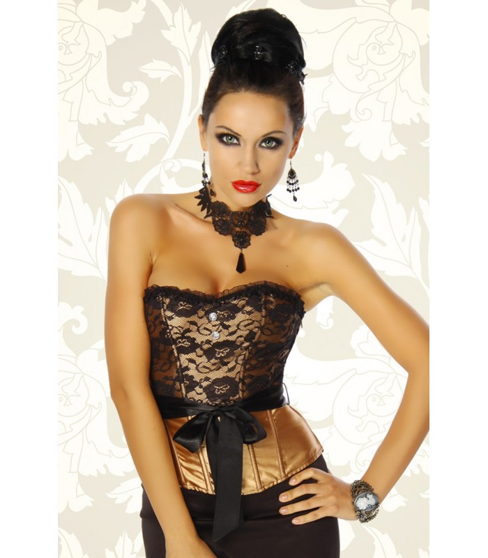 c4371240b0018b Spitzen-Corsage gold/schwarz - AT12183 - FashionMoon