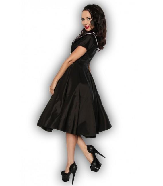 schwarz-weißes Rockabilly-Kleid aus Satin mit Matrosen-Kragen