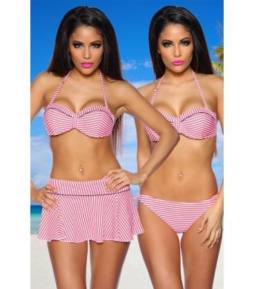 Push-Up Bikini-Set rot/schwarz/weiß - AT12612