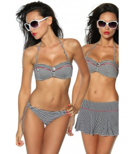 Push-Up Bikini-Set schwarz/weiß/rot - AT12612