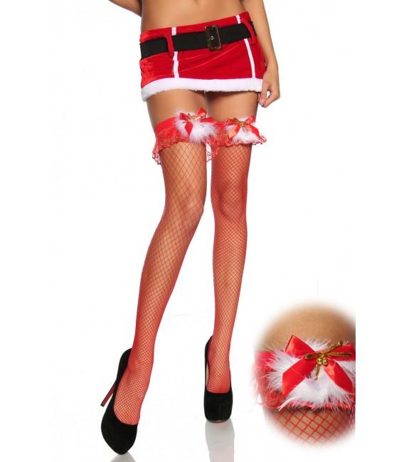 Netz-Stockings rot mit Plüsch - AT12618