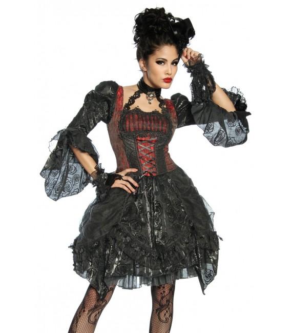 Sexy Premium-Vampirkostüm mit eingenähtem, zweilagigen Petticoat und zusätzlich Satin-Rock unterfüttert