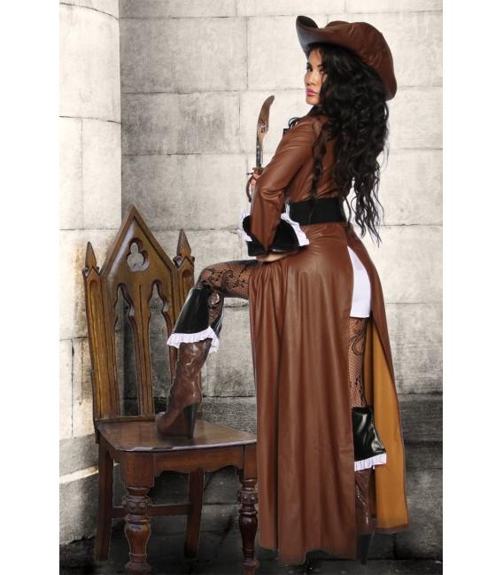 klassisches achtteiliges Piratenkostüm, bestehend aus Mantel, Kleid, Hut, 1 Paar Stiefelstulpen, Gürtel und Säbel