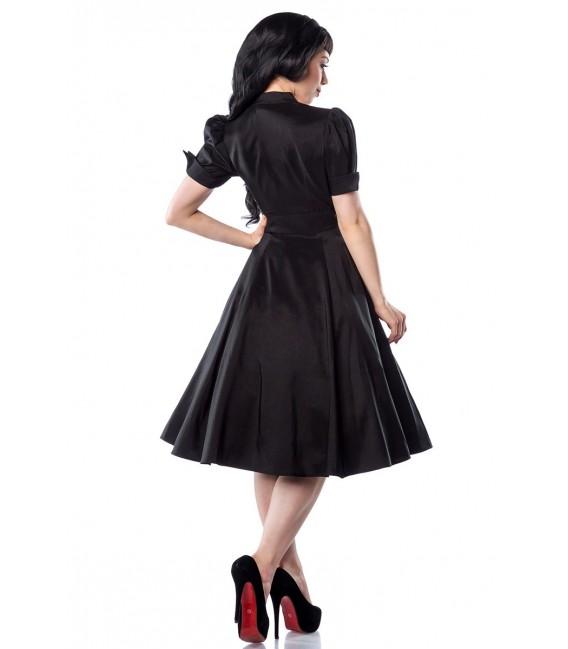 Rockabilly-Kleid schwarz-burgund mit schönem Schlüsselloch-Ausschnitt