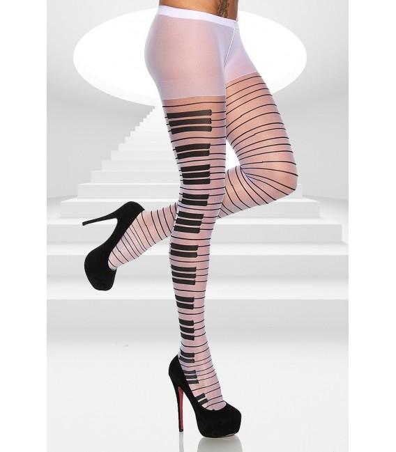 Burlesque-Strumpfhose mit einem Klaviertasten-Muster