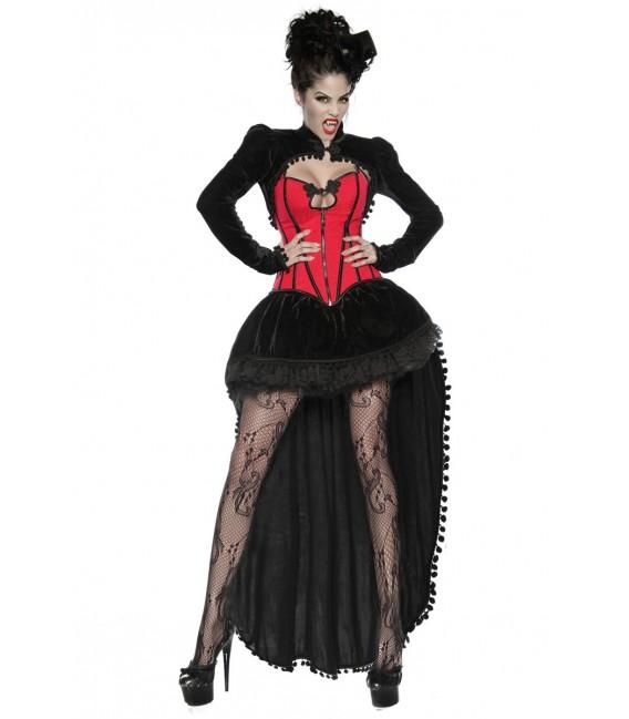 vierteiliges Vampirkostüm - bestehend aus Rock, Petticoat, Corsage, Samtbolero