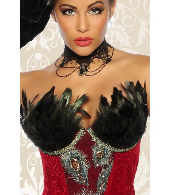 Burlesque-Corsage rot mit dekorativer Schnürung hinten und einem seitlichen Reißverschluss