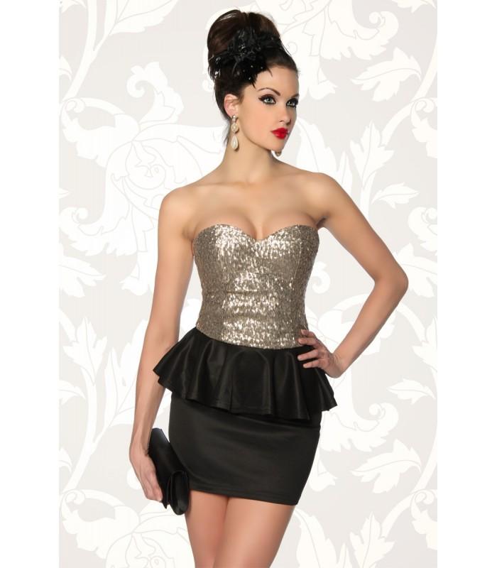 96084d935bf Vintage-Kleid mit Pailletten schwarz gold - AT12857 - FashionMoon