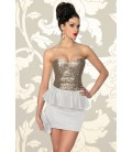Vintage-Kleid mit Pailletten weiß/gold - AT12857