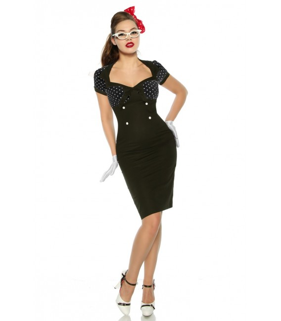 Vintage-Kleid im Pin-Up-Stil schwarz - AT12873