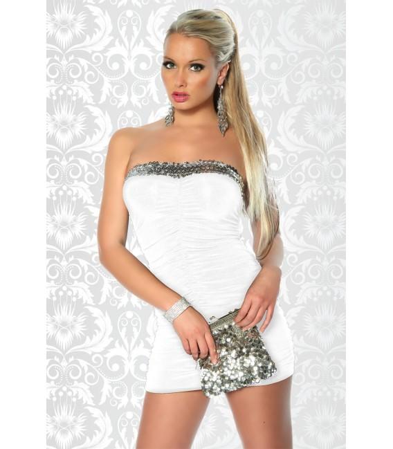 Bandeaukleid Minikleid schwarz mit Pailletten, figurbetonter Schnitt