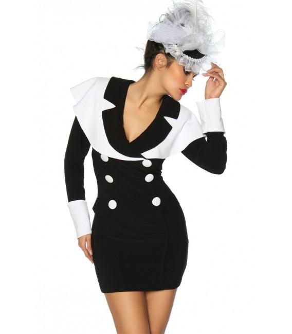 Längärmliges Vintage-Marinekleid schwarz-weiß