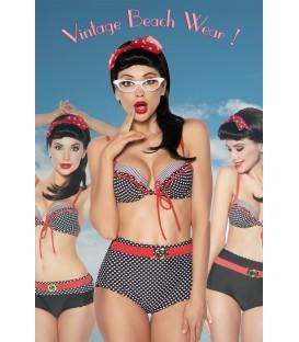 Vintage-Bikini schwarz/rot/weiß