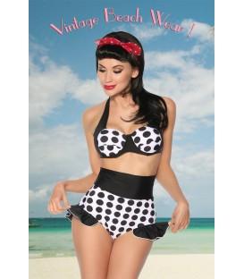 Vintage-Push-Up-Bikini weiß/schwarz