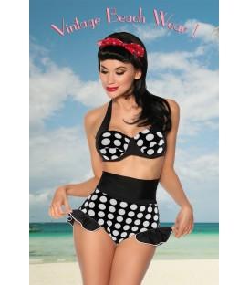 Vintage-Push-Up-Bikini schwarz/weiß