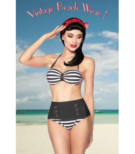 Vintage-Bandeau-Bikini schwarz/weiß