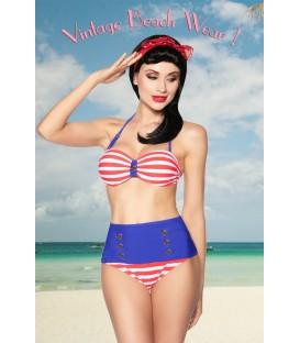 Vintage-Bandeau-Bikini blau/rot/weiß