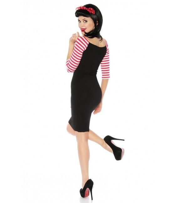 Pencil-Vintage-Kleid mit rotweiß gestreiften Dreiviertel-Ärmeln