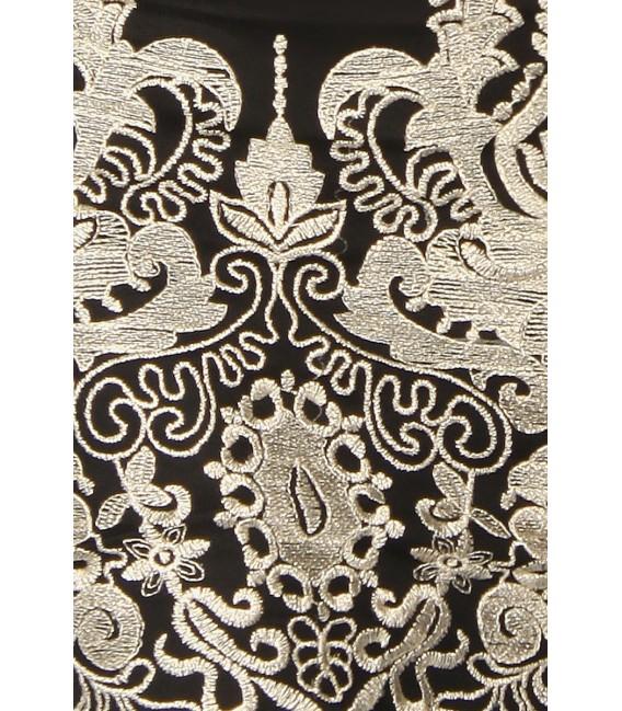 Elegantes Etui-Kleid mit Spitze in schwarz-gold mit femininen Schnitt