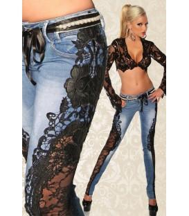 Jeans mit Spitze blau/schwarz