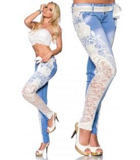 Jeans mit Spitze blau/creme