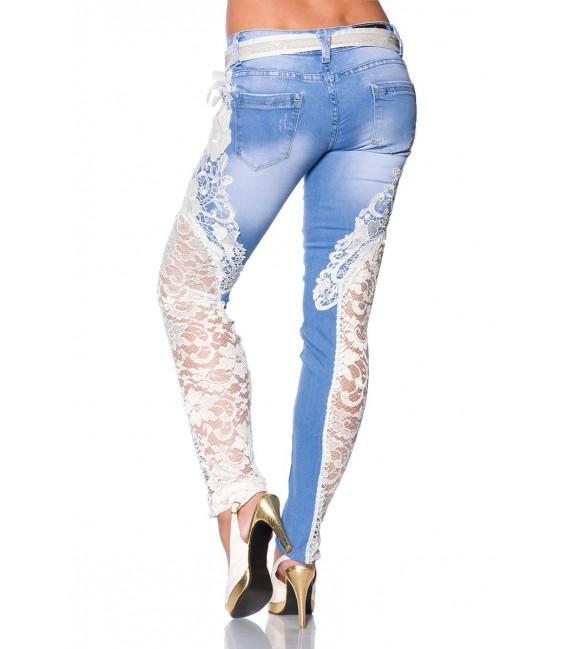 Großbild Jeans mit Spitze blau/creme