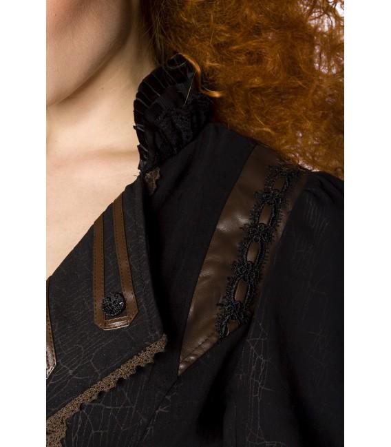 Steampunk-Mantel mit geprägter Musterung und Zierborten, sowie mit Kragensteg und verziertem Revers