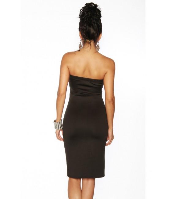 Club-Kleid in schwarz mit partiellen transparenten Einsätzen