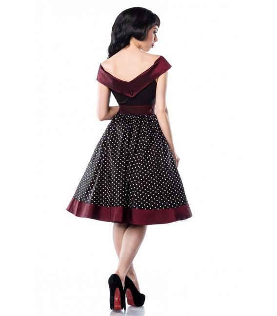 Rockabilly-Kleid in schwarz-burgund mit Polka Dots und Carmen-Ausschnitt