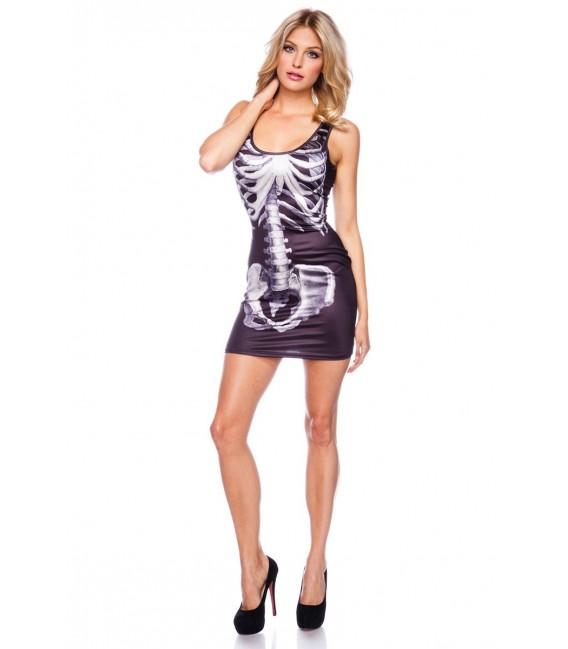 Minikleid mit coolem Skelett Print und breiten Trägern