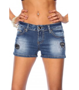Jeans-Shorts mit Paillettenapplikation