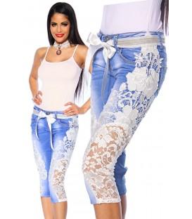 Capri-Jeans mit Spitze blau/creme