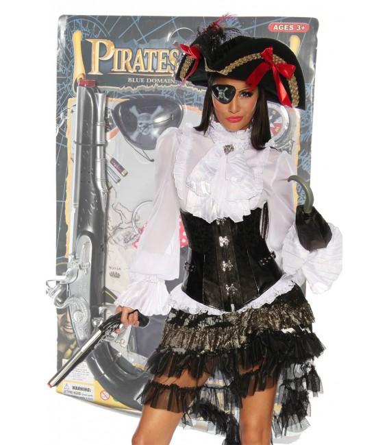 Großbild Piratenset besteht aus Pistole, Augenklappe, Kompass, Ohrring und Haken