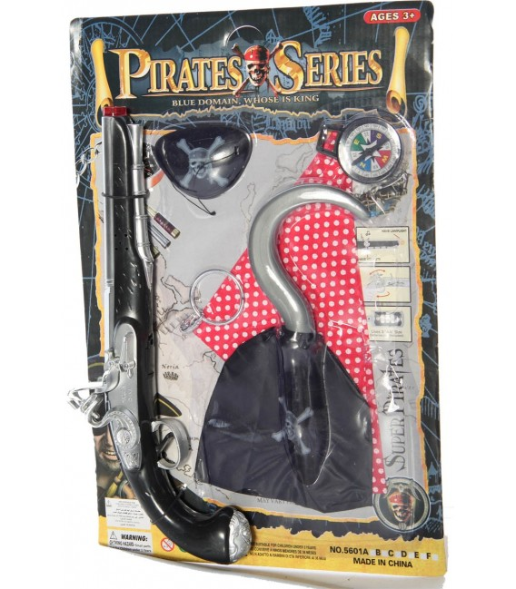 Piratenset besteht aus Pistole, Augenklappe, Kompass, Ohrring und Haken