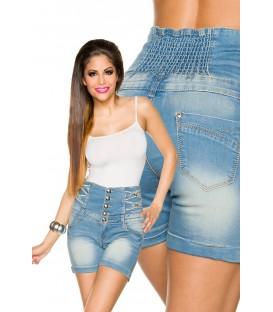 Jeans-Shorts mit hochgeschlossenem Bund