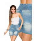 Jeans-Shorts mit hochgeschnittenem Bund - AT13413