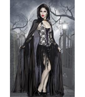 Vampirkostüm komplett mit Spitze überzogen, asymmetrisch geschnitten und ausgefranstes Rockteil