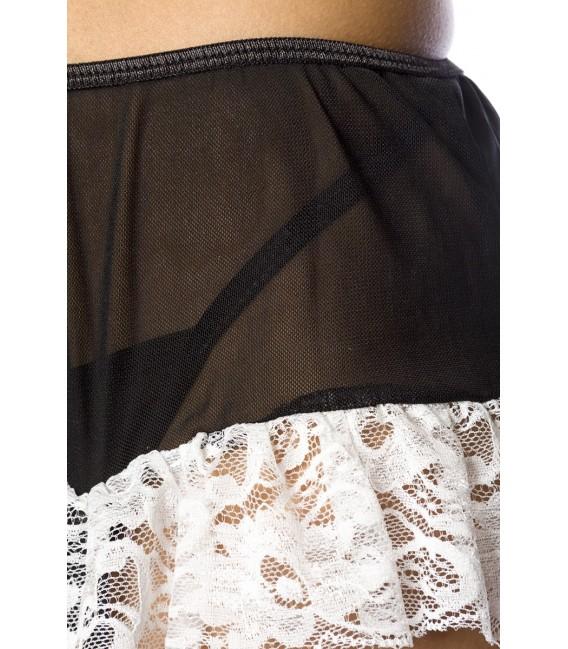 Dessous-Set aus feiner Spitze und Tüll gefertigt mit Strapshaltern und Armstulpen