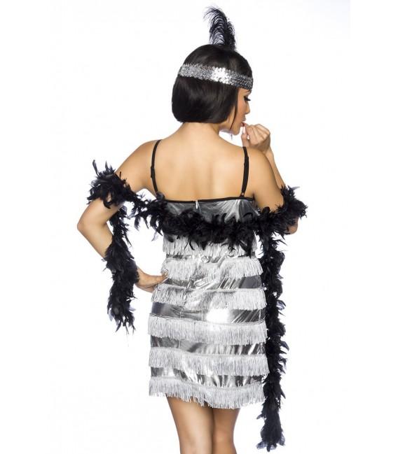 Charleston-Kostüm mit Paillettenbesatz inklusive Federboa und Stirnband