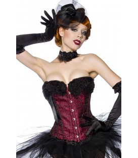 Burlesque-Corsage schwarz/rot - AT13645